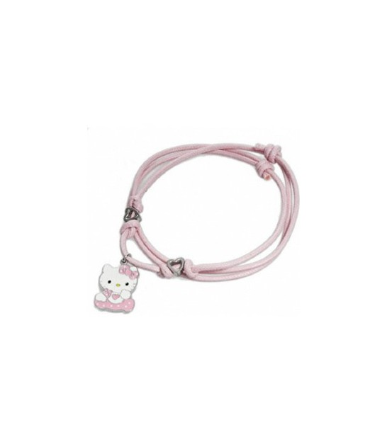 Collar Hello Kitty cuero rosa y plata