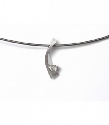 Collar Or Blanc 18KT 1 Diamant
