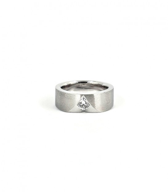 Anell Solitari Or Blanc 18KT 1 Diamant