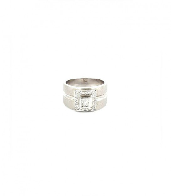 Anillo Oro Blanco 18KT 16 Diamantes