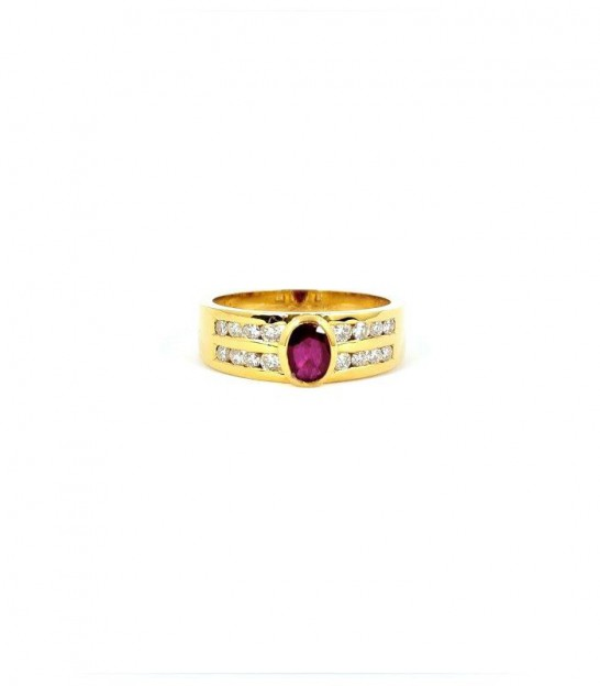 Anillo Retro Oro 18KT 1 Rubí y Diamantes