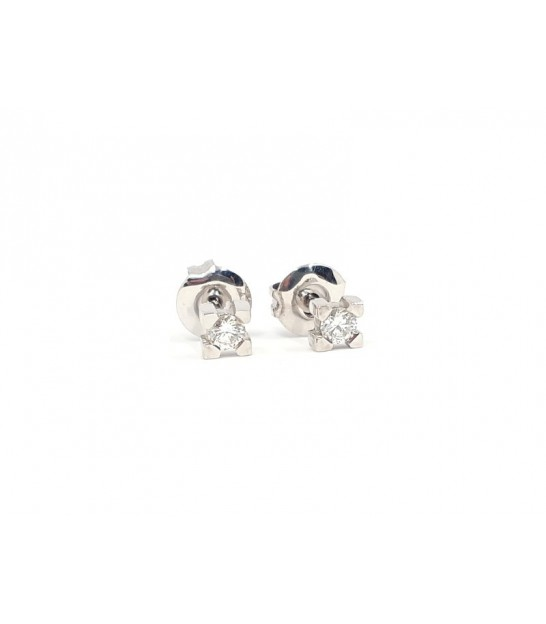 Pendientes 4 Grapas de Oro Blanco y Diamantes