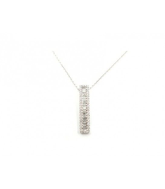 Collar Oro Blanco 18kt Diamantes Baguette